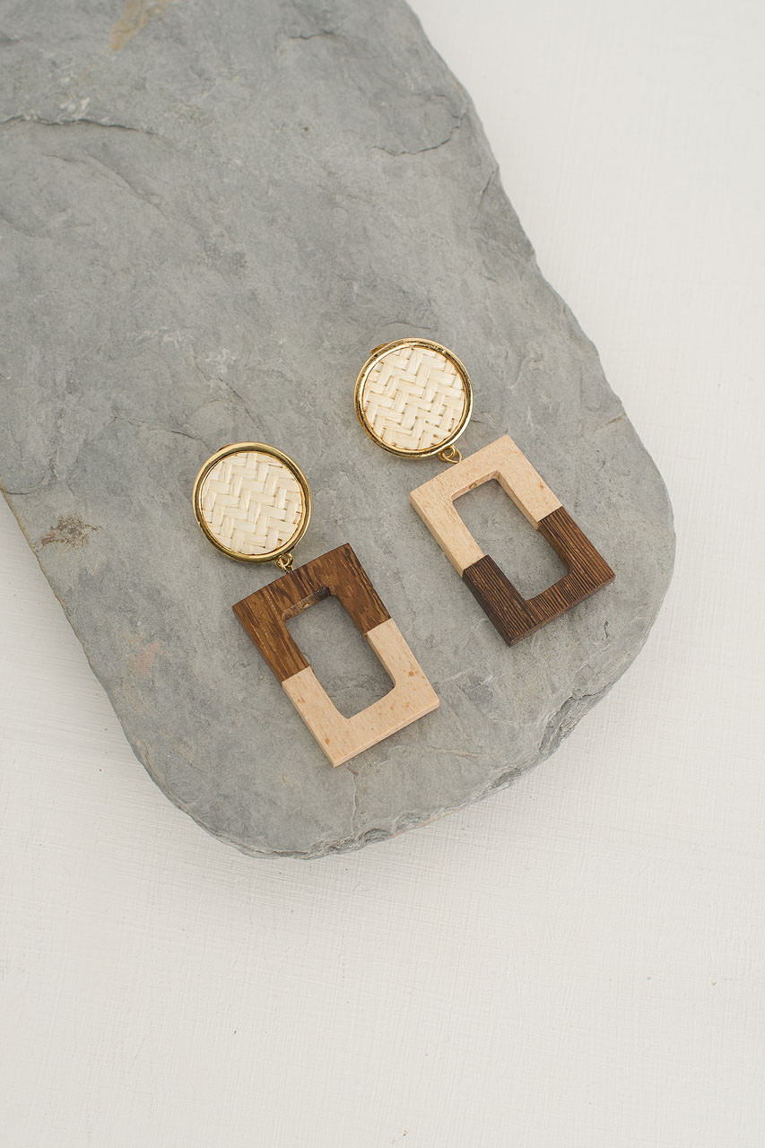 Woven Circle Square Drop Earring, Gold Plated/Ivory
