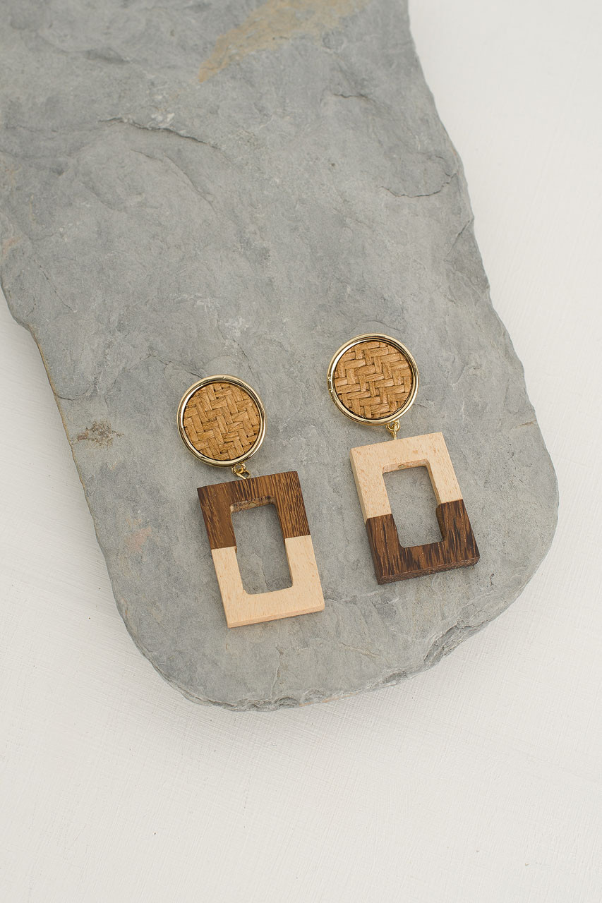 Woven Circle Square Drop Earring, Gold Plated/Beige