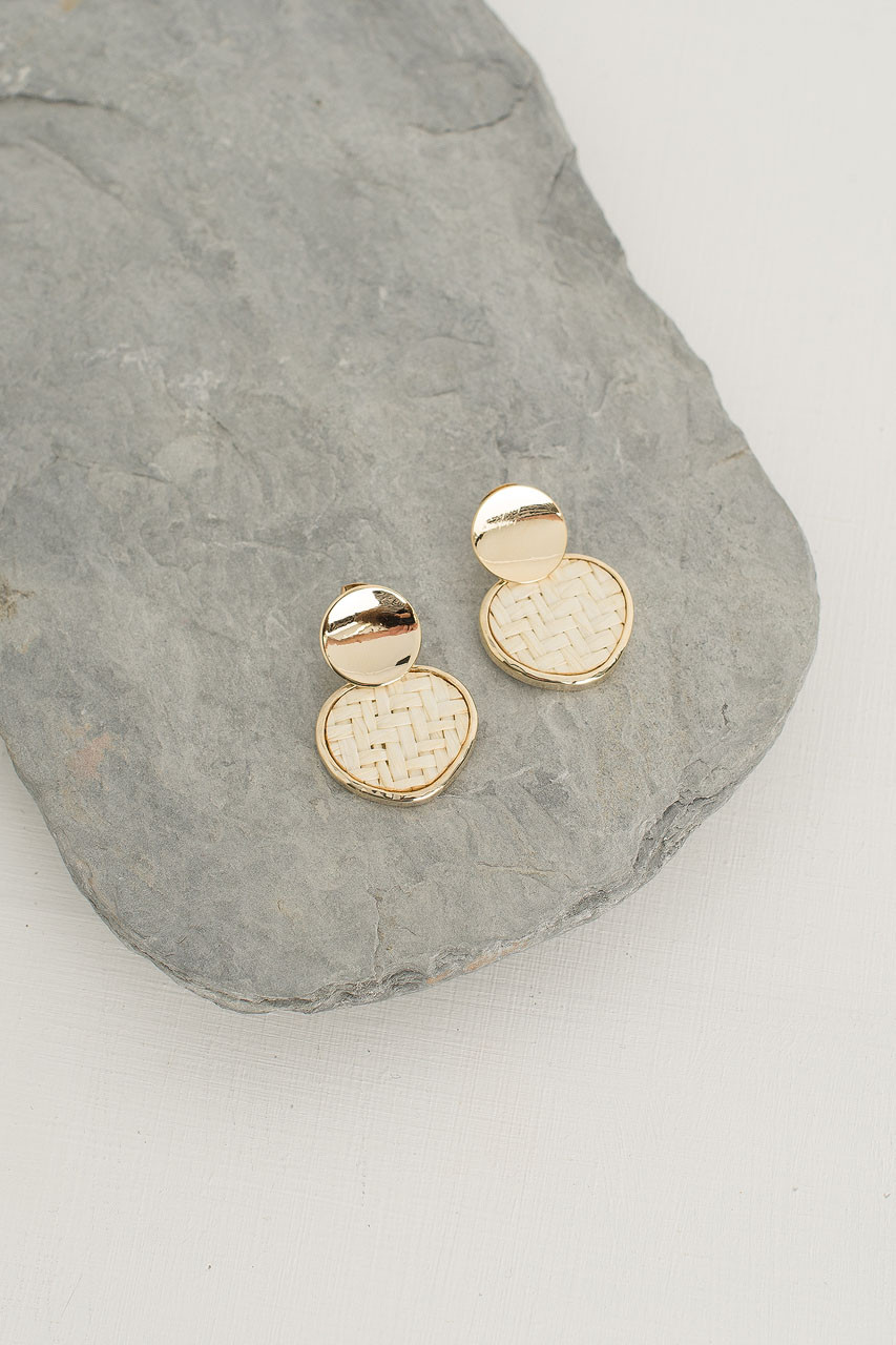 Woven Circle Drop Earring, Gold Plated/Ivory