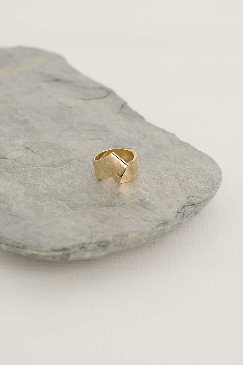 Twist And Fold Ring, Gold Plated
