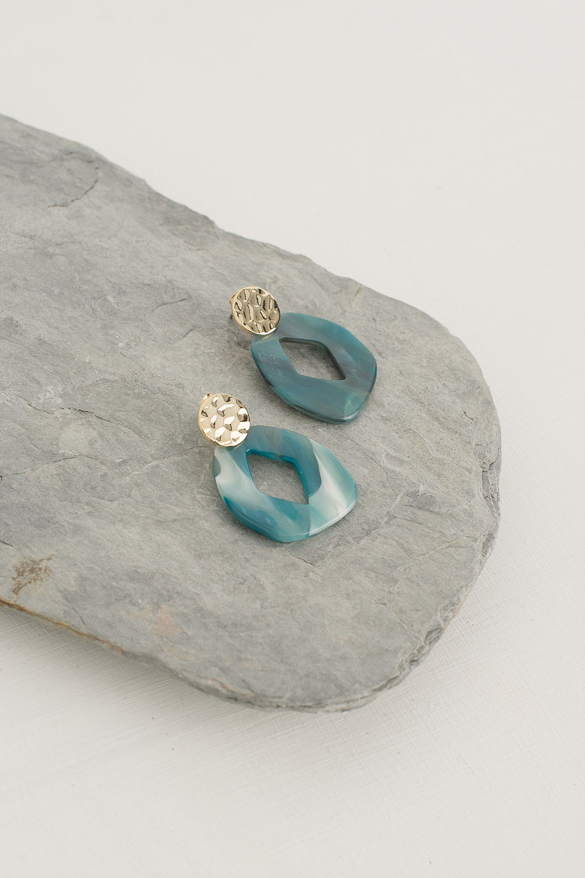 Porto Earring, Gold Plated/Green