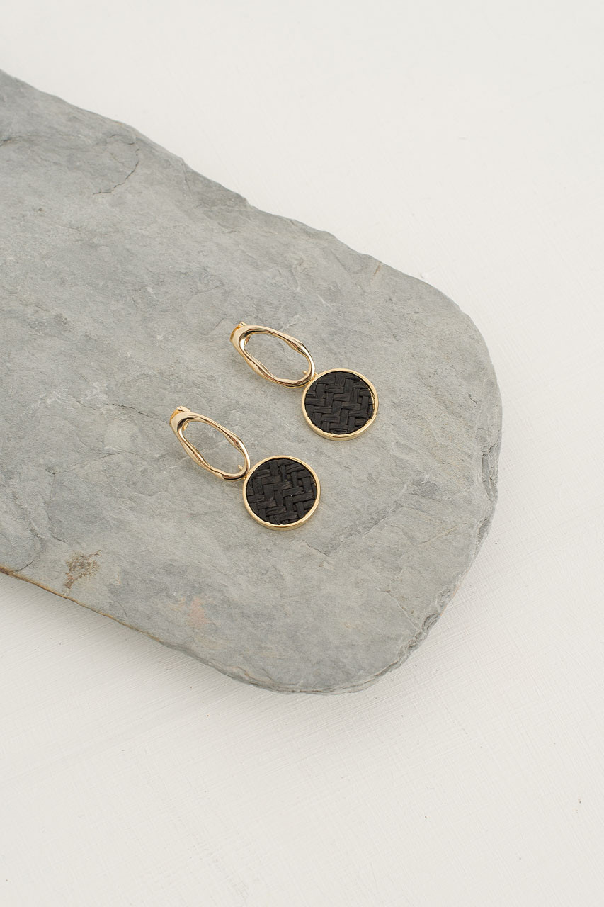 Peony Woven Circle Drop Earring, Gold Plated/Black