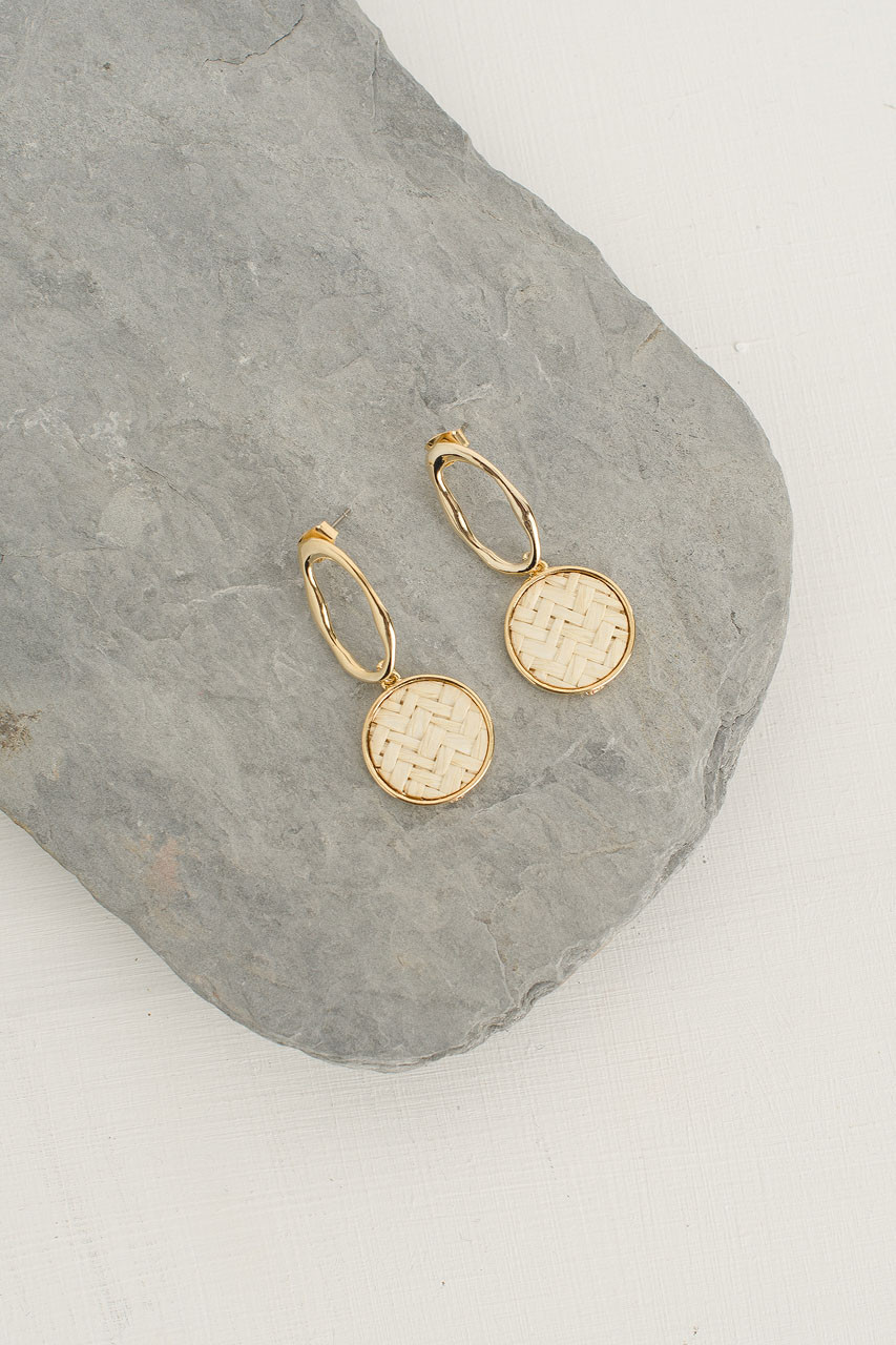 Peony Woven Circle Drop Earring, Gold Plated/Ivory