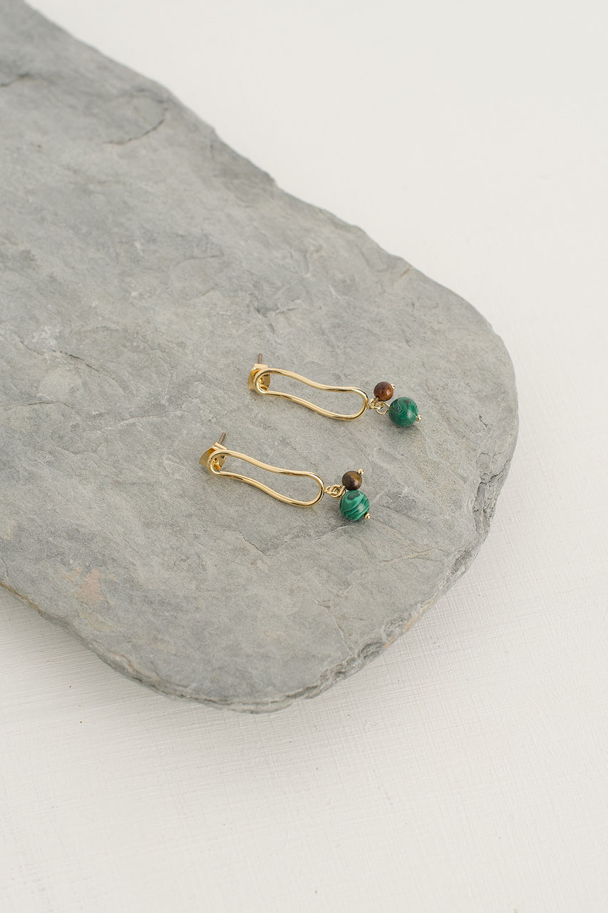 Helena Stone Drop Earring, Gold Plated