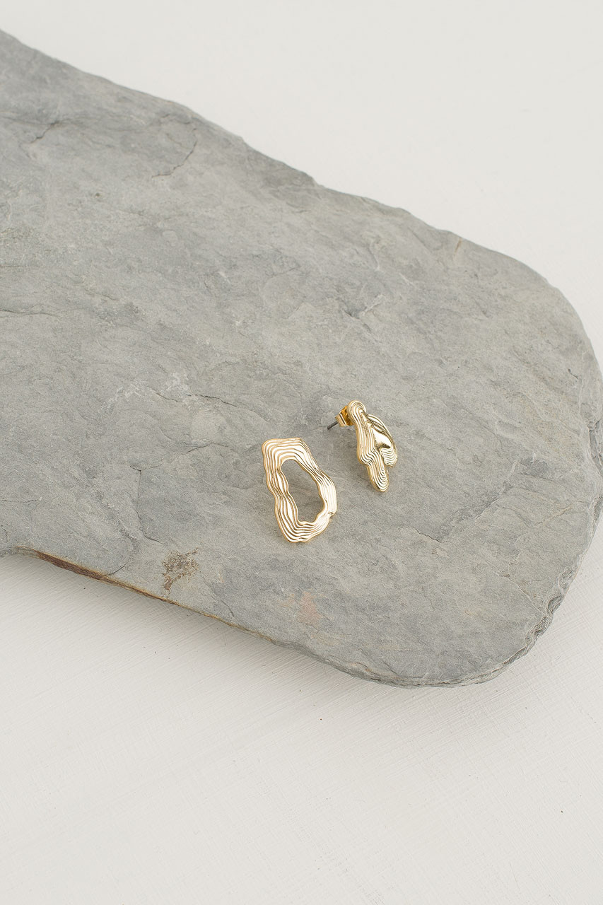 Contour Stud, Gold Plated