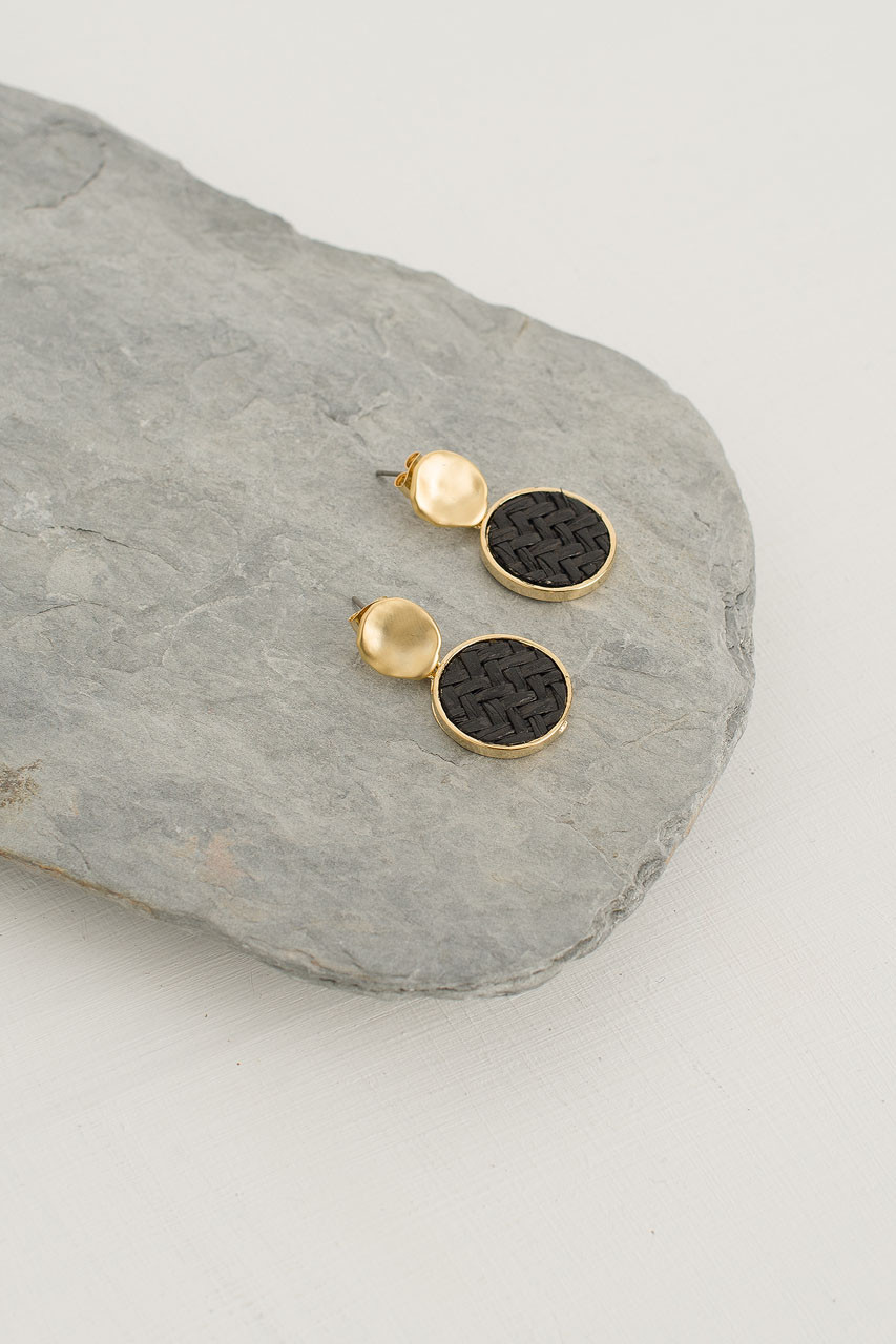 Crushed Gold Woven Circle Drop Earring, Gold Plated/Black