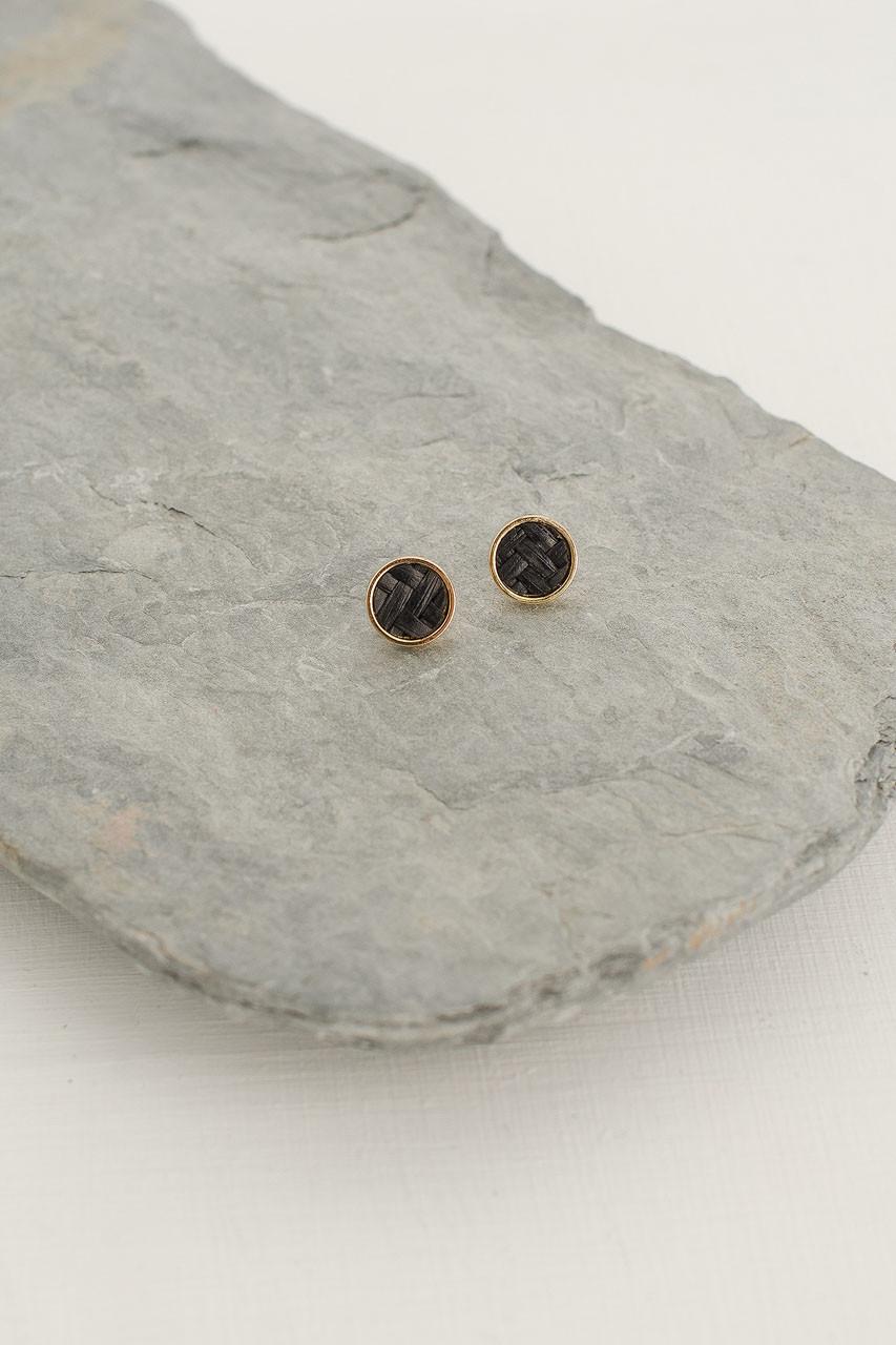 Mini Woven Circle Stud, Gold Plated/Black