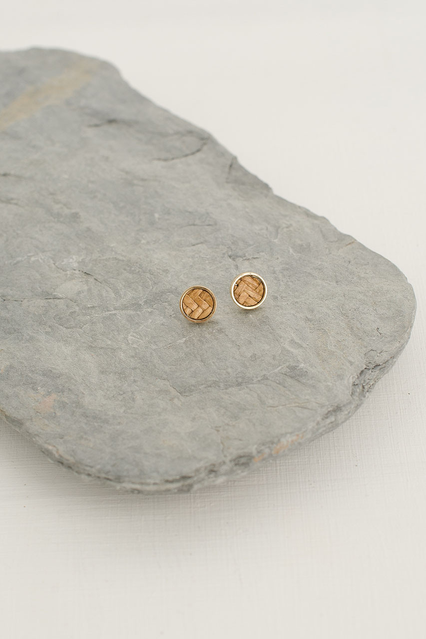Mini Woven Circle Stud, Gold Plated/Beige