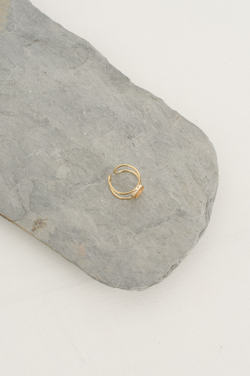 Mini Woven Circle Double Line Ring, Gold Plated/Beige