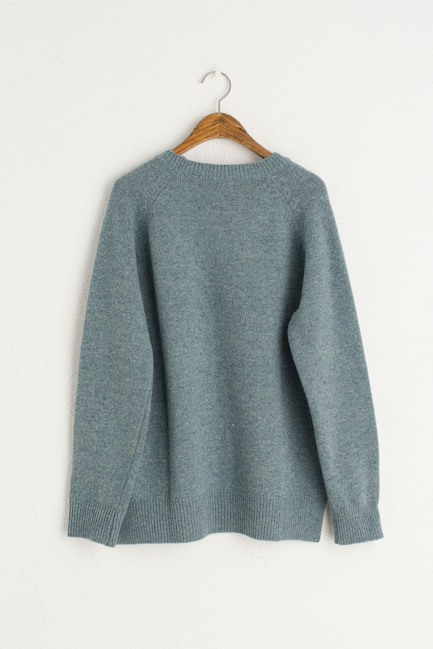 Slit Side Unbalance Crew Neck Jumper, Topaz