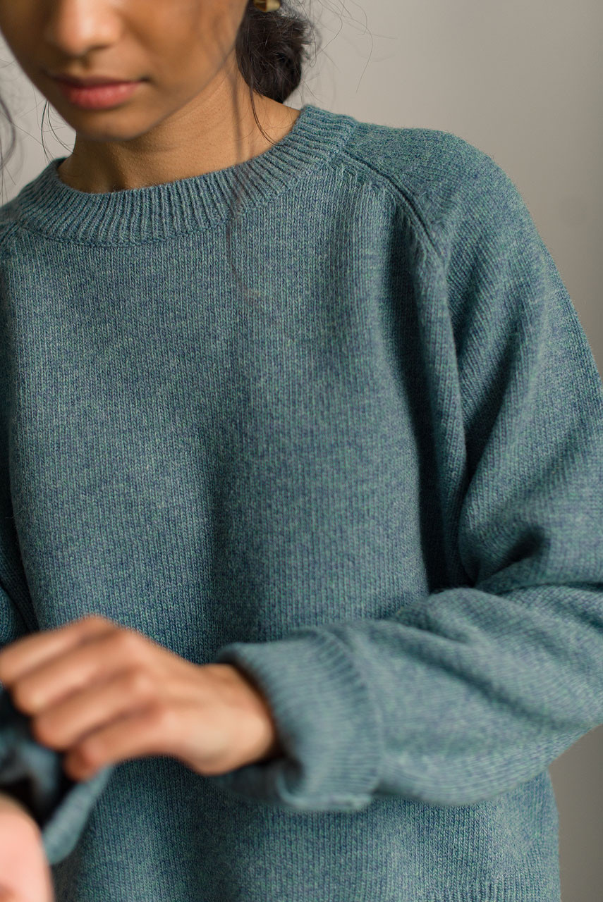 Unbalanced Crew Neck Knit, Topaz
