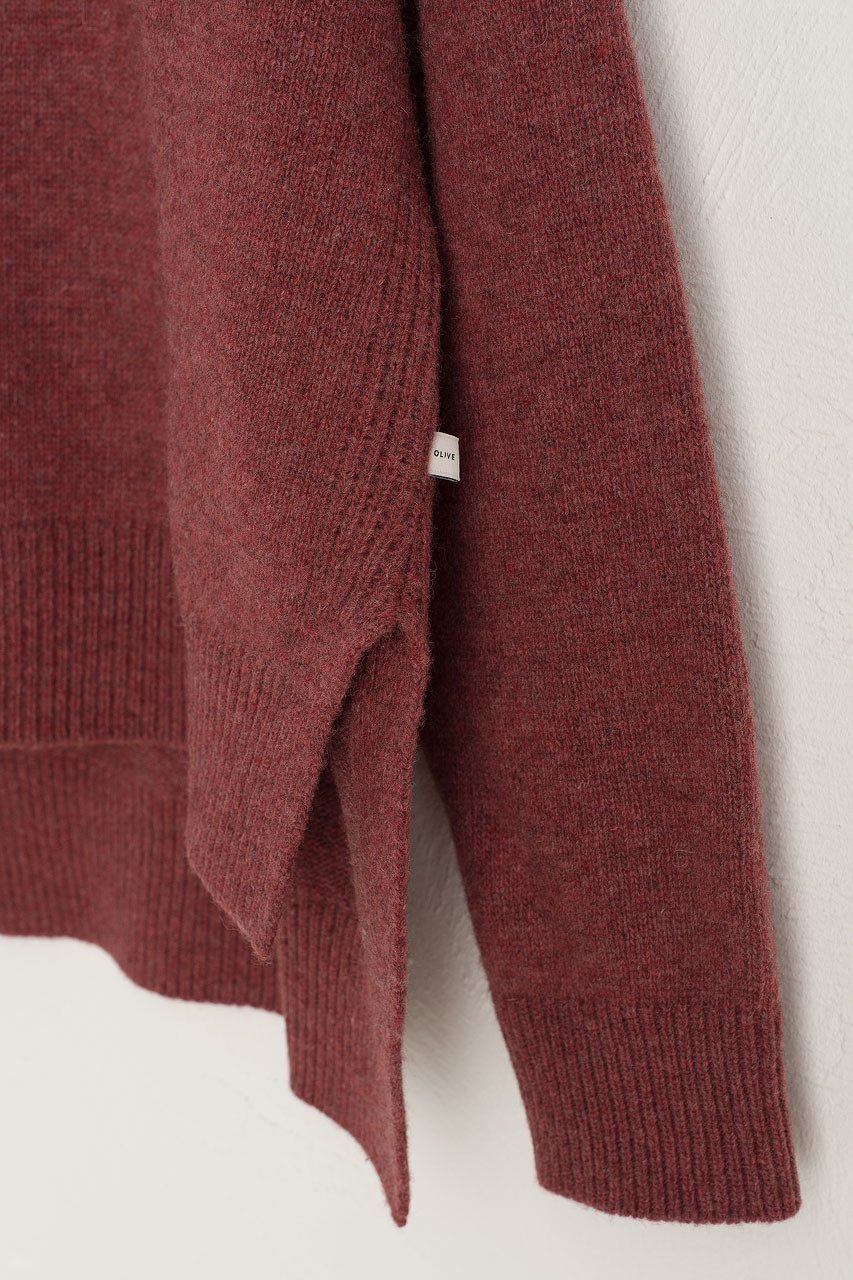 Slit Side Unbalance Crew Neck Jumper, Wine Melange