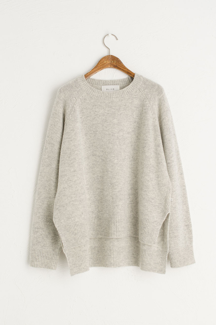 Slit Side Unbalance Crew Neck Jumper, Cloud