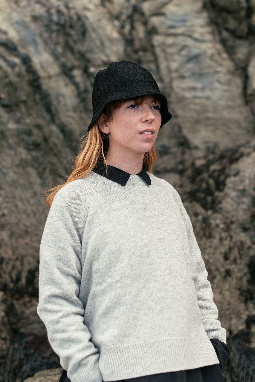 Unbalanced Crew Neck Knit, Cloud