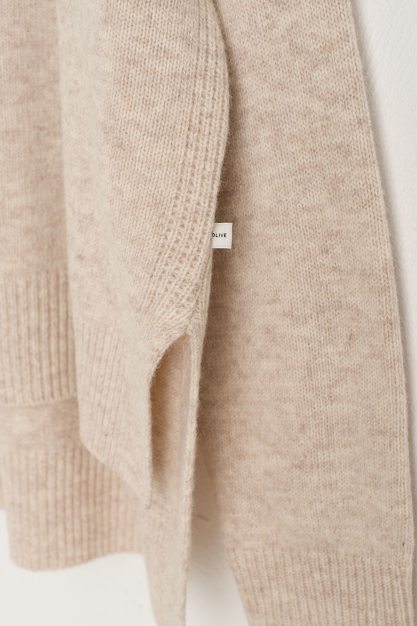 Slit Side Unbalance Crew Neck Jumper, Oatmeal