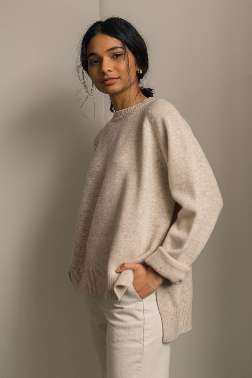 Unbalanced Crew Neck Knit, Oatmeal