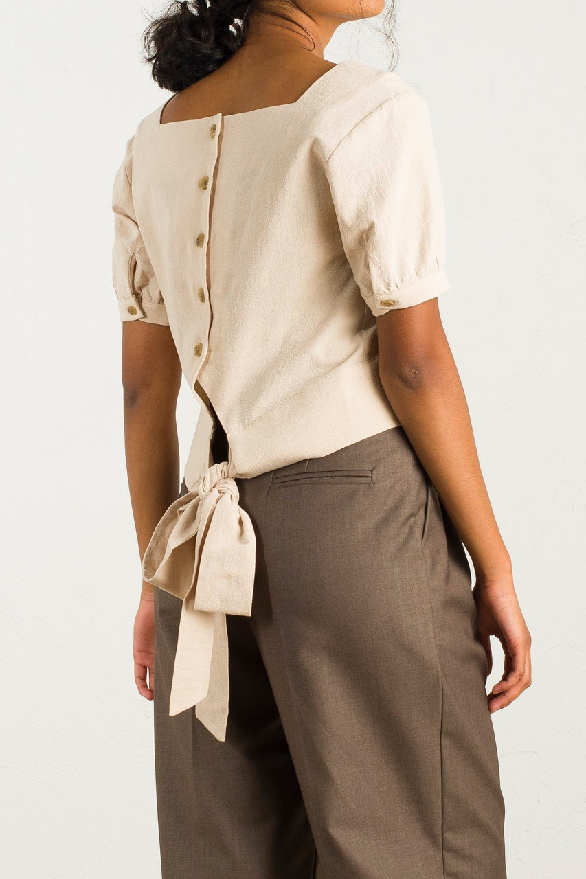 Square Neck Tie Back Blouse, Beige