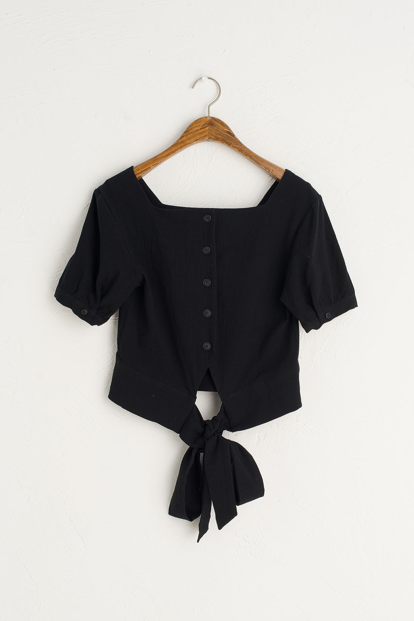 Square Neck Tie Back Blouse, Black