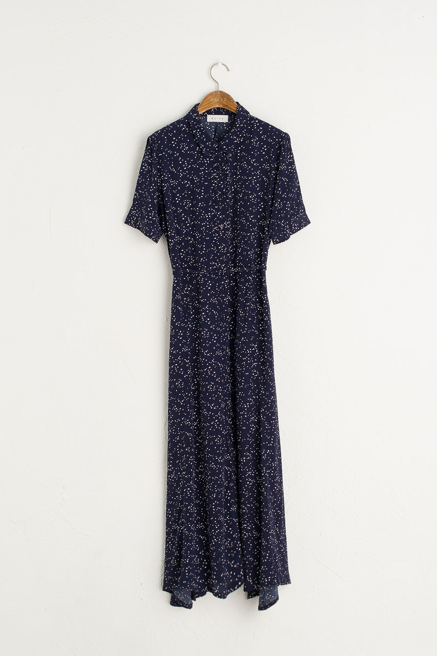Spot Print Shirt Long Dress, Navy