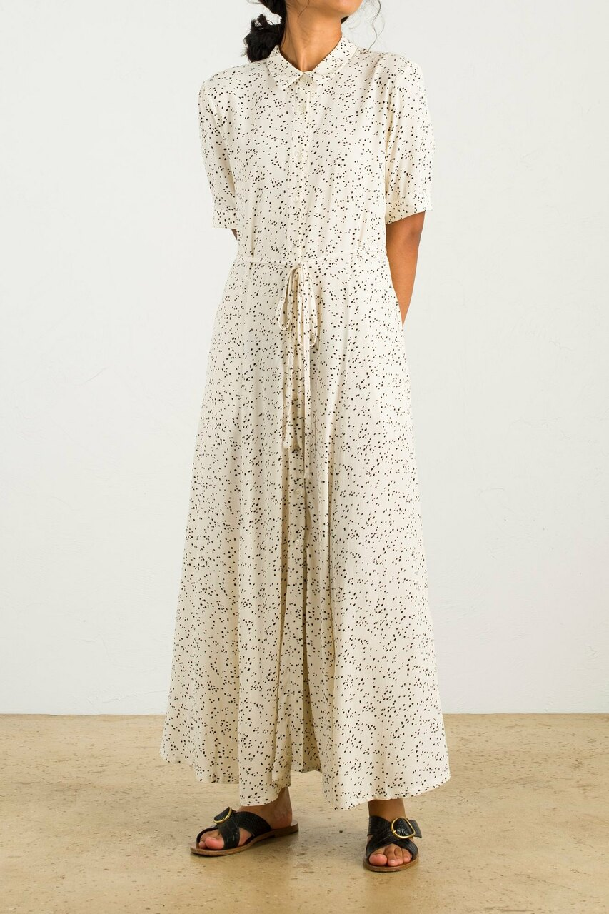 Spot Print Shirt Long Dress, Ivory