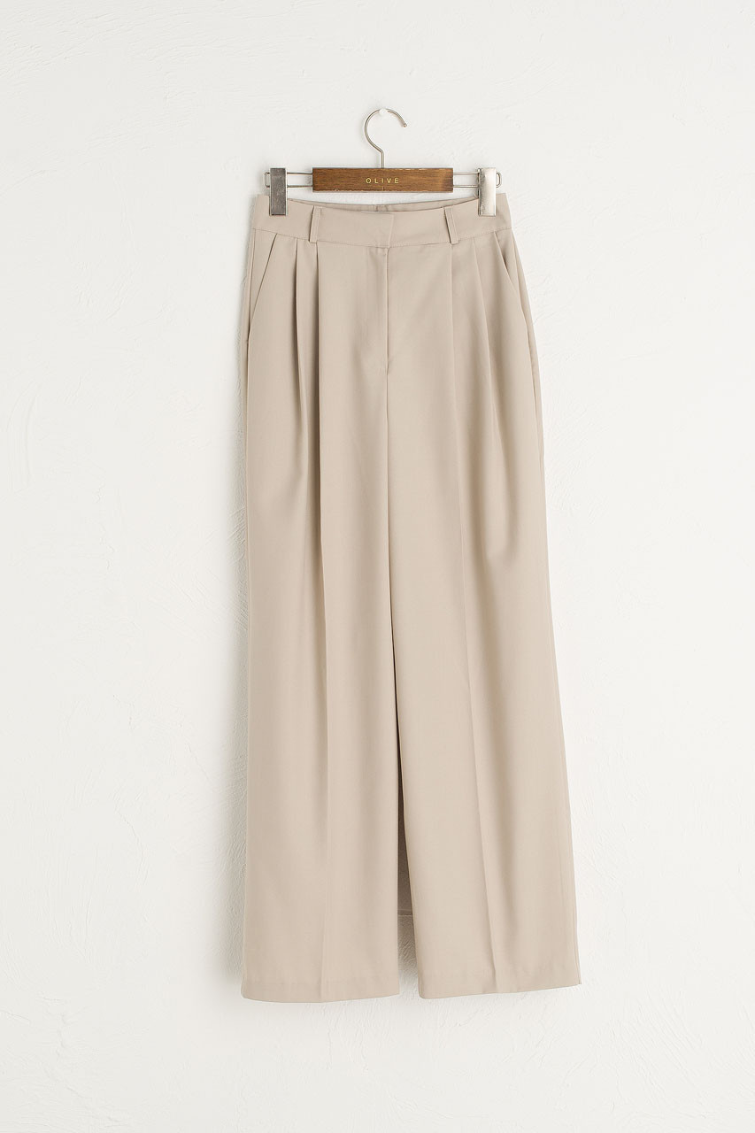 Co Pleated Trousers, Beige