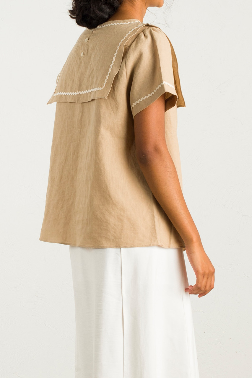 Sailor Style Collar Blouse, Khaki