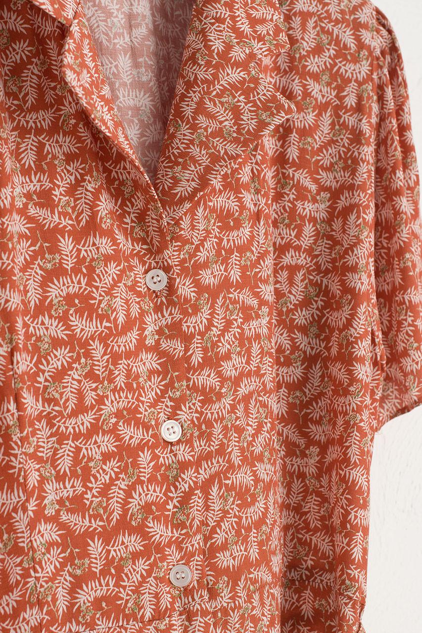 Hyeri Leaves Shirt Dress, Sienna