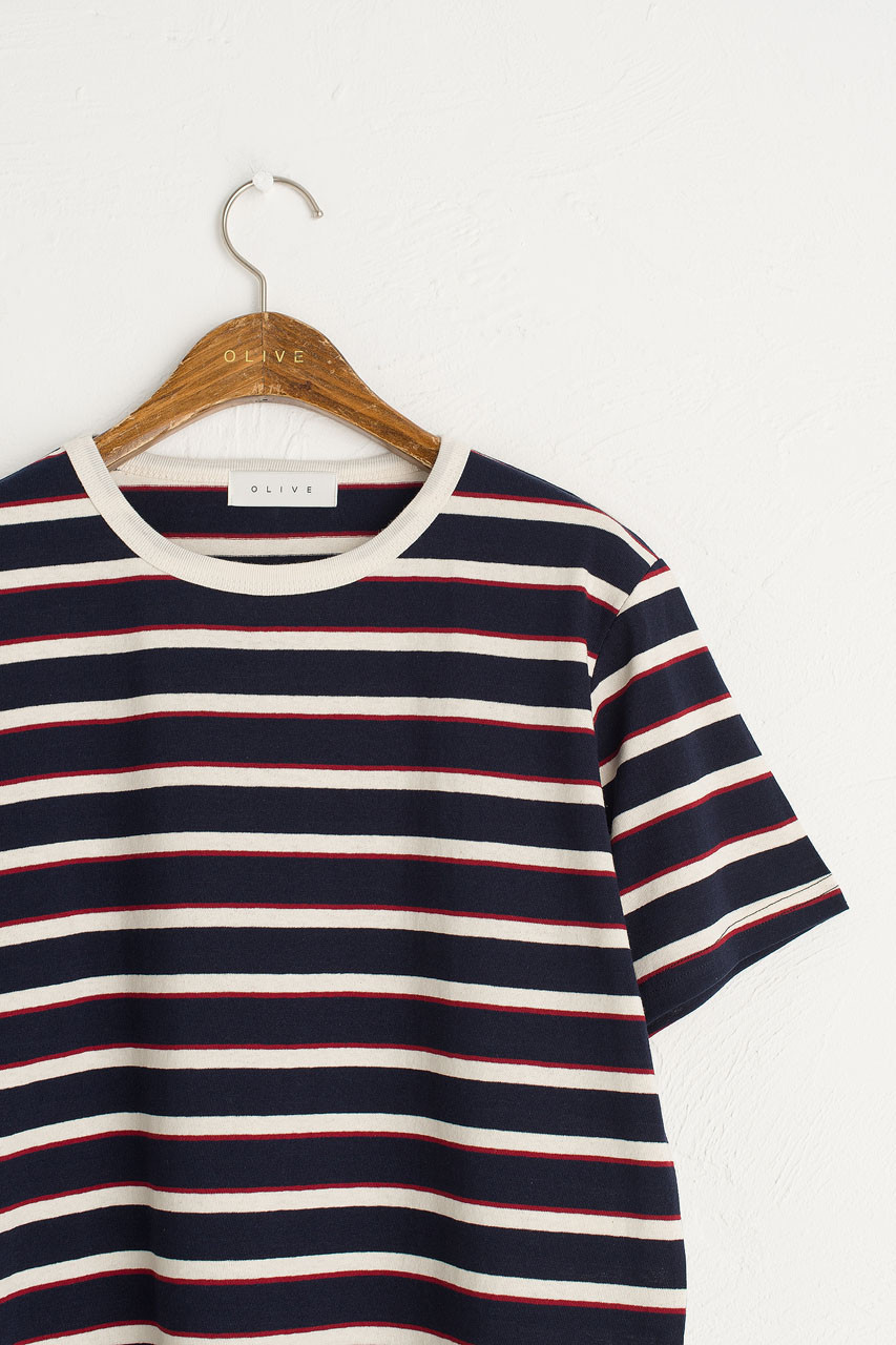 Co Stripe Tee, Navy/Ivory