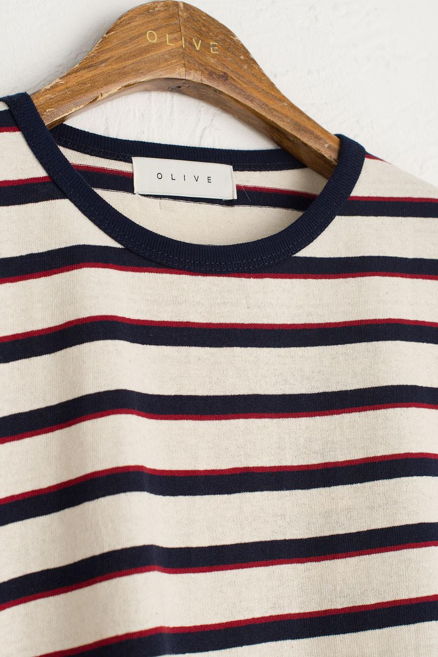 Co Stripe Tee, Ivory/Navy