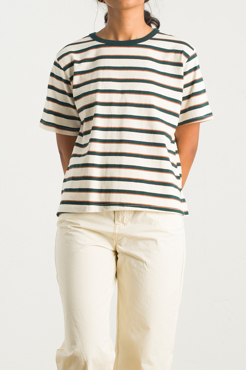 Co Stripe Tee, Green/Ivory