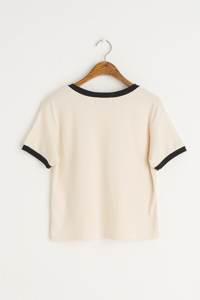 Contrast Colour Neck Tee, Ivory/Black