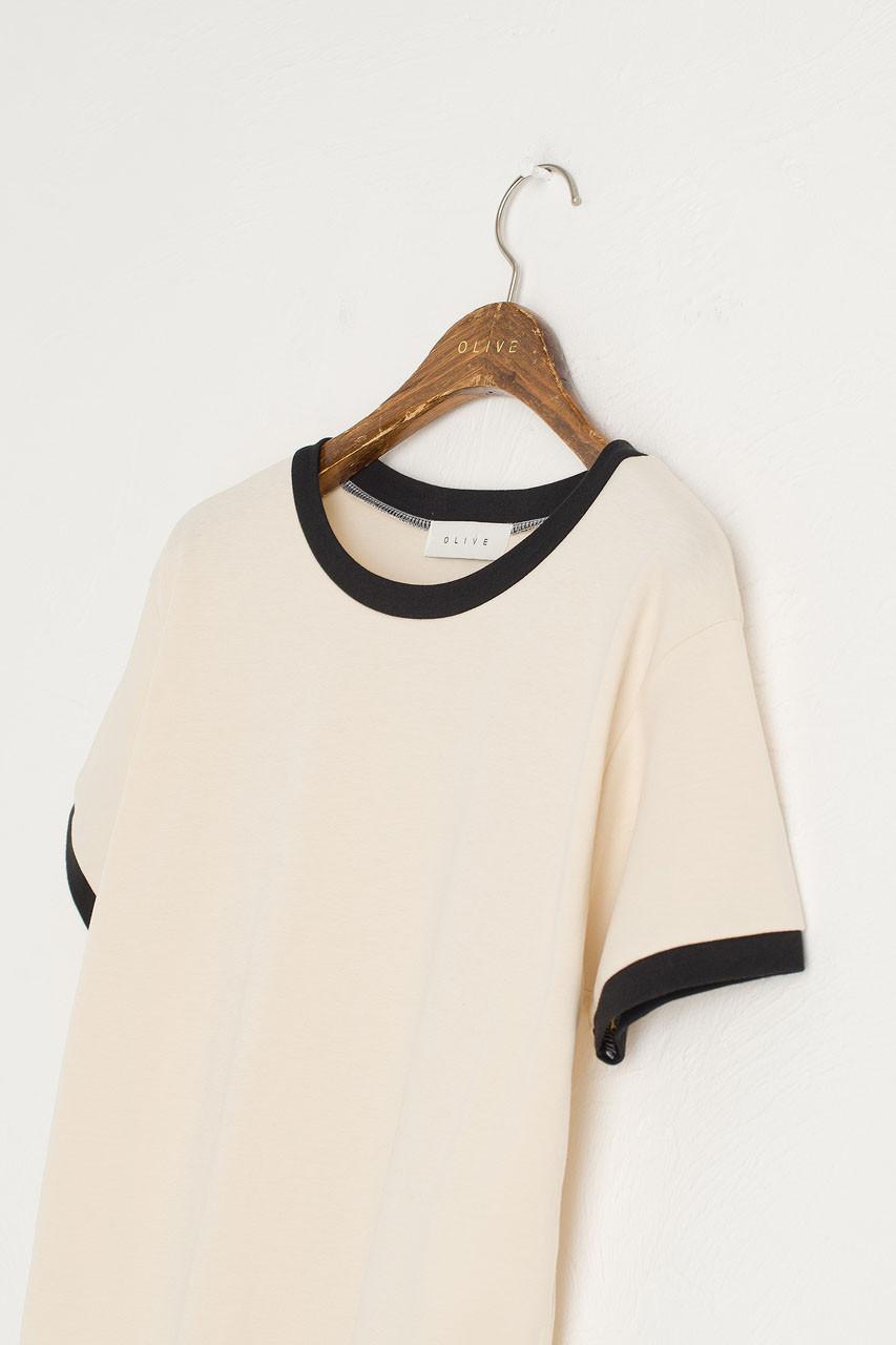 Contrast Colour Neck Tee, Ivory/Black
