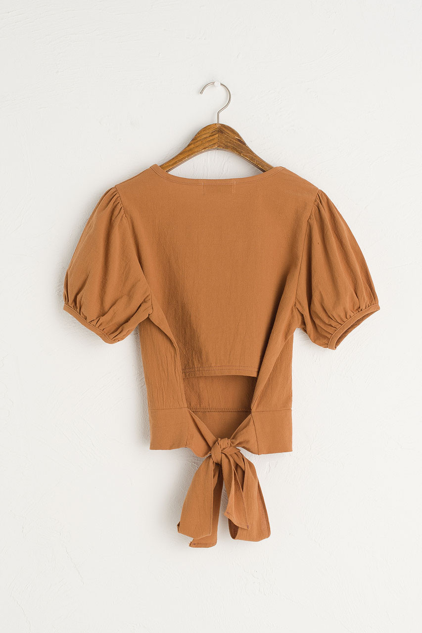Mae Ribbon Back Blouse, Camel