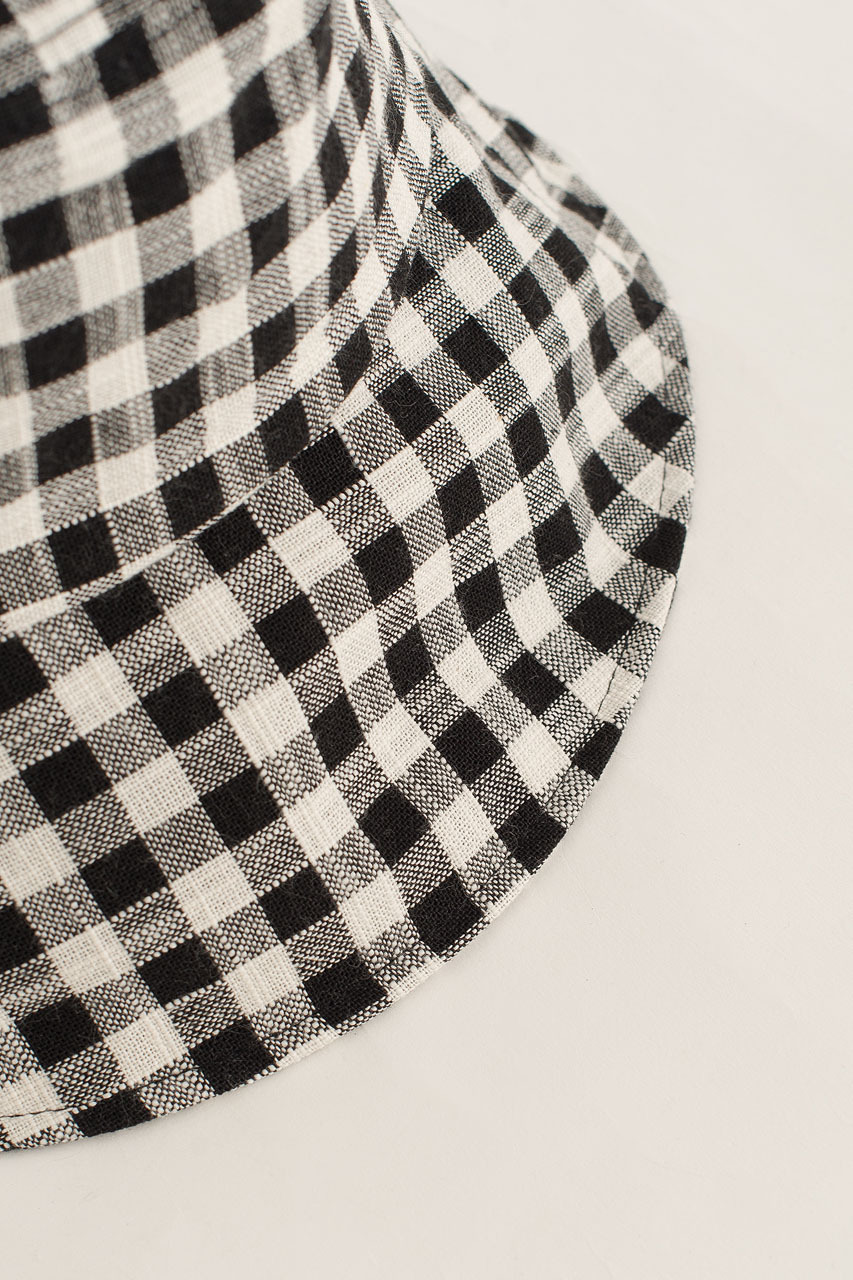 Gingham Check Hat, Black