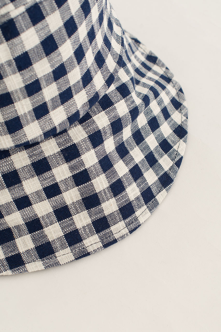 Gingham Check Hat, Navy