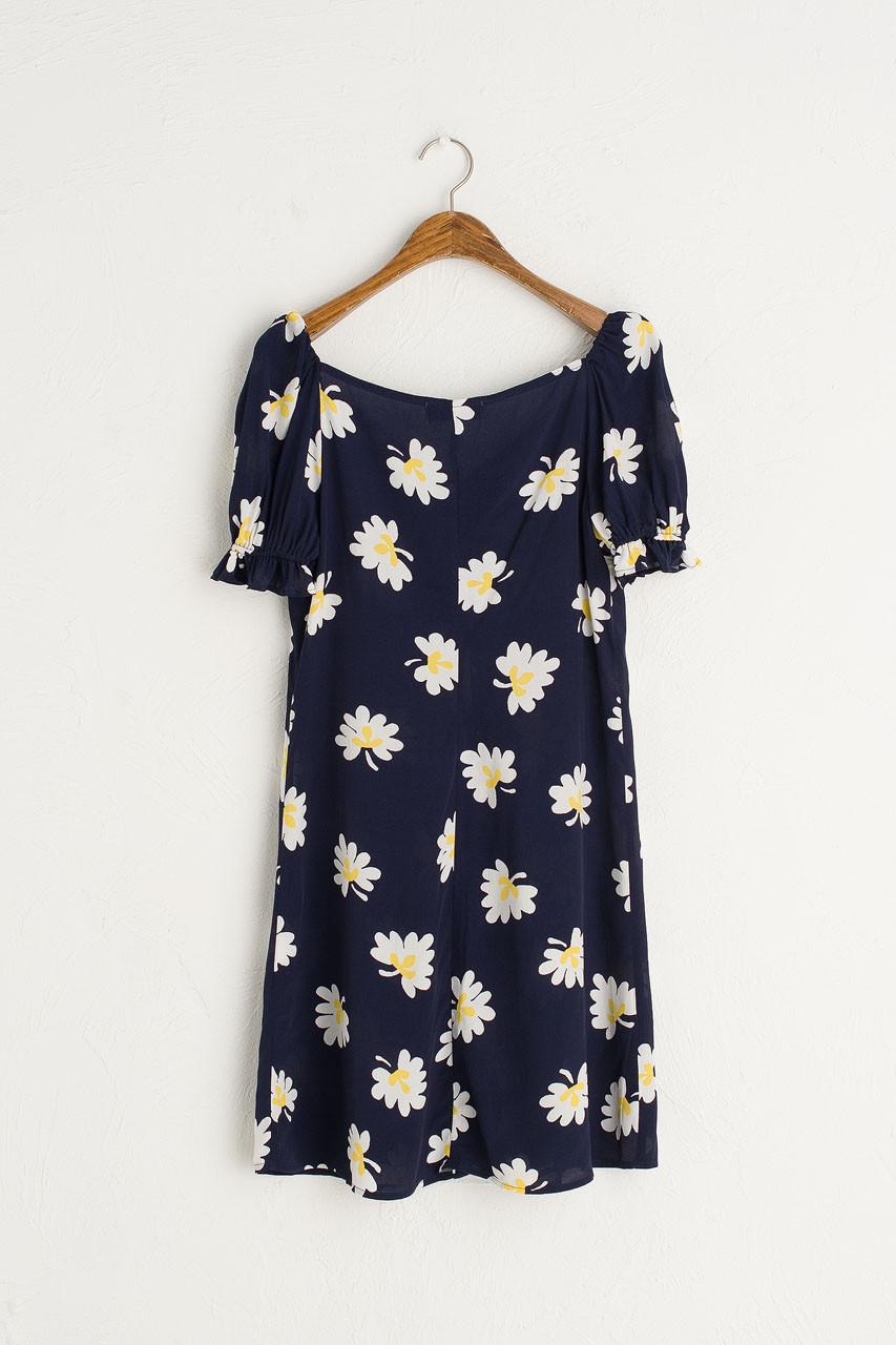 Rei Yellow Flower Dress, Navy