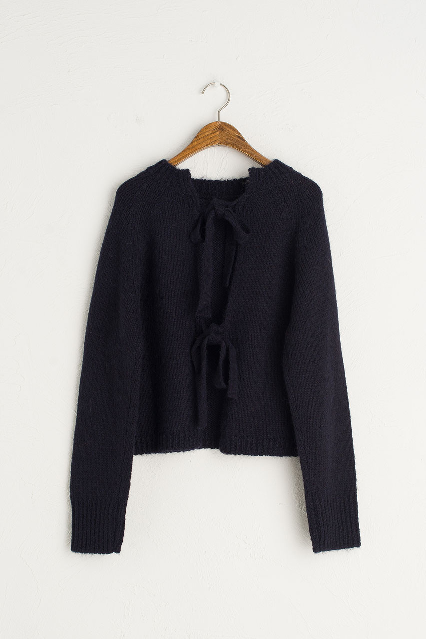 Ribbon Reverse Jumper, Navy
