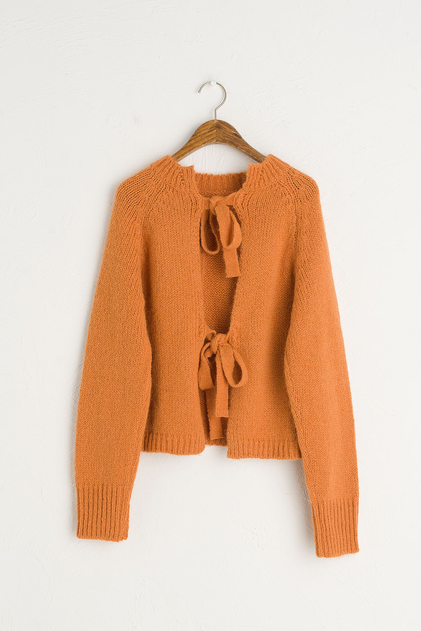 Ribbon Reverse Jumper, Burnt Orange