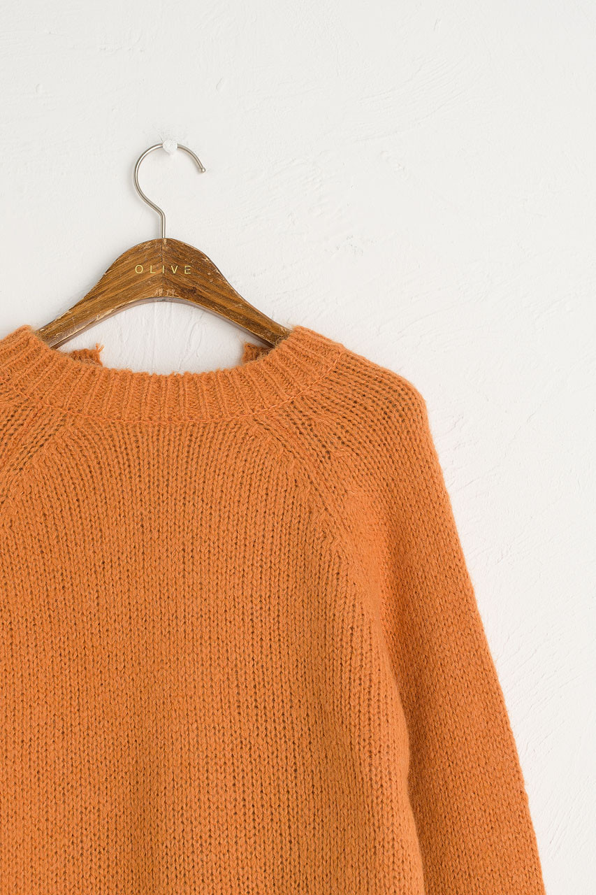 Ribbon Reverse Jumper, Burnt Orange