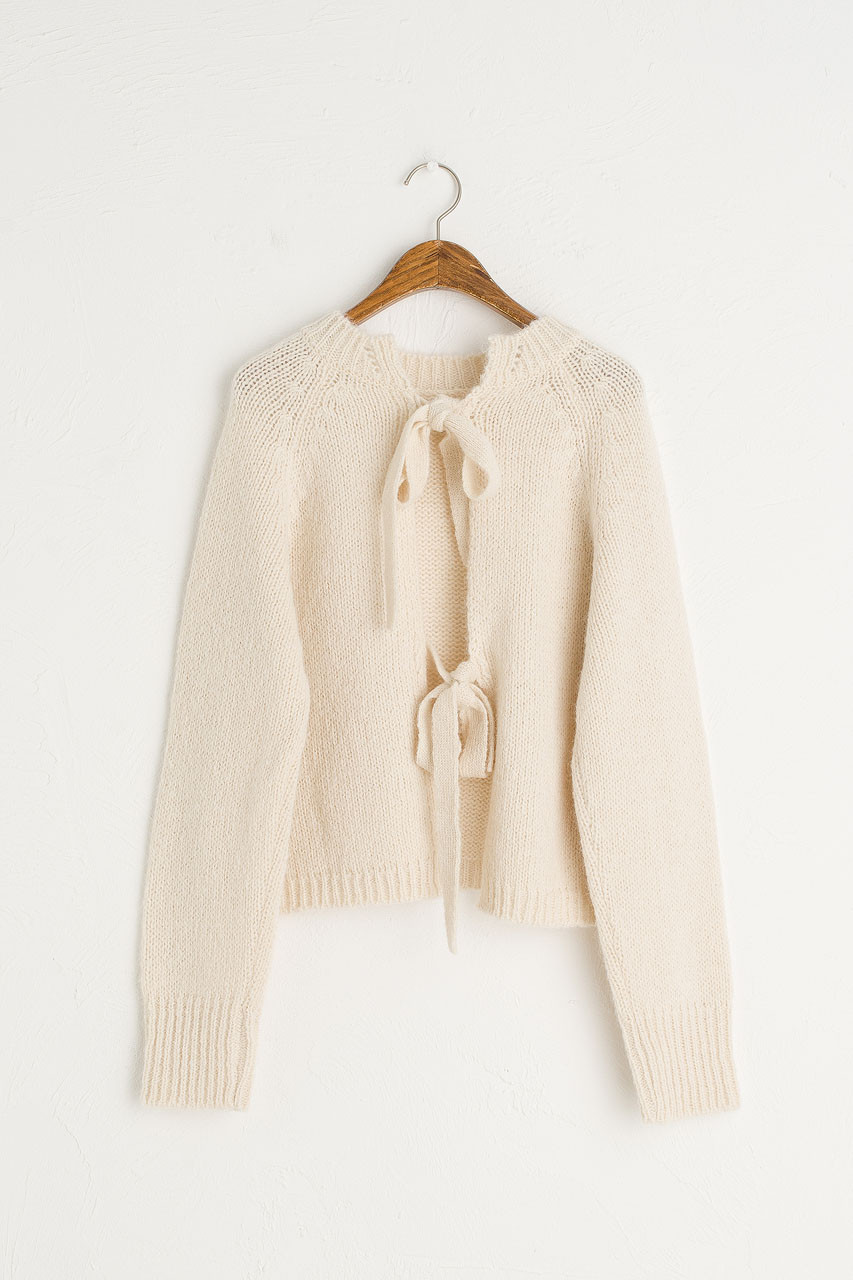 Ribbon Reverse Jumper, Ivory