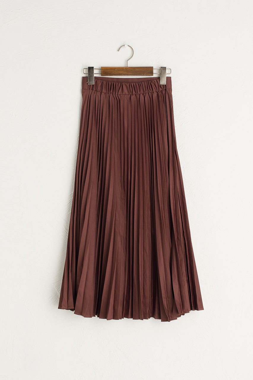 Satin Pleated Long Skirt, Brown
