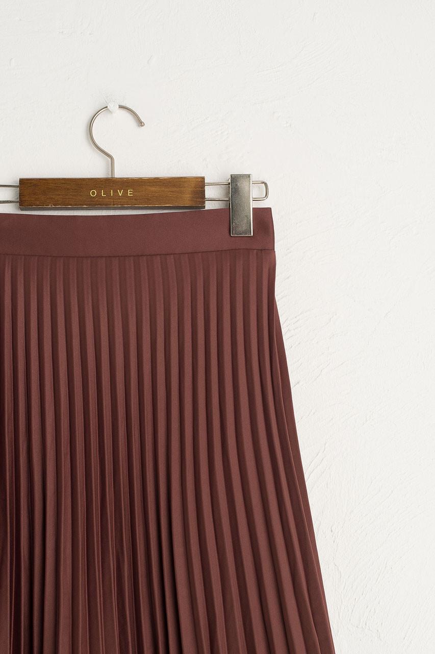 Satin Pleated Long Skirt, Brown