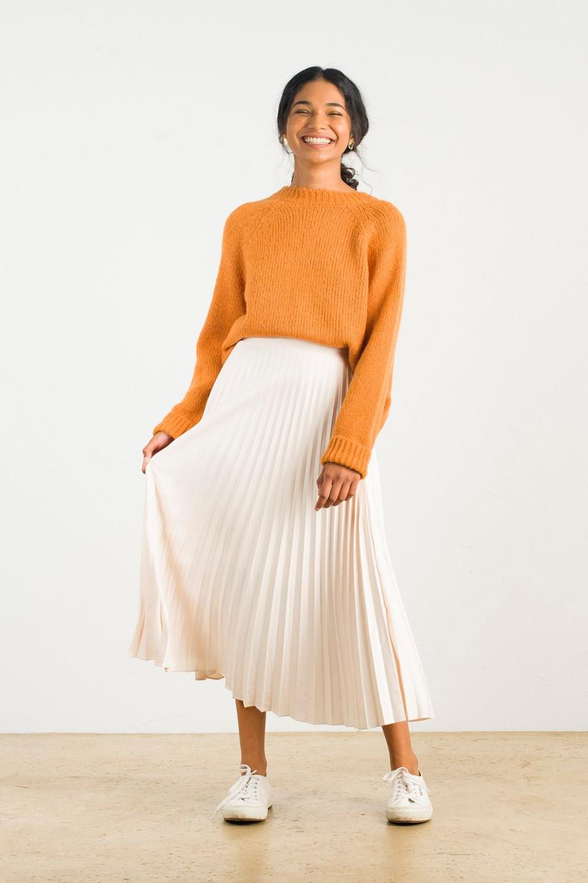 Satin Pleated Long Skirt, Cream