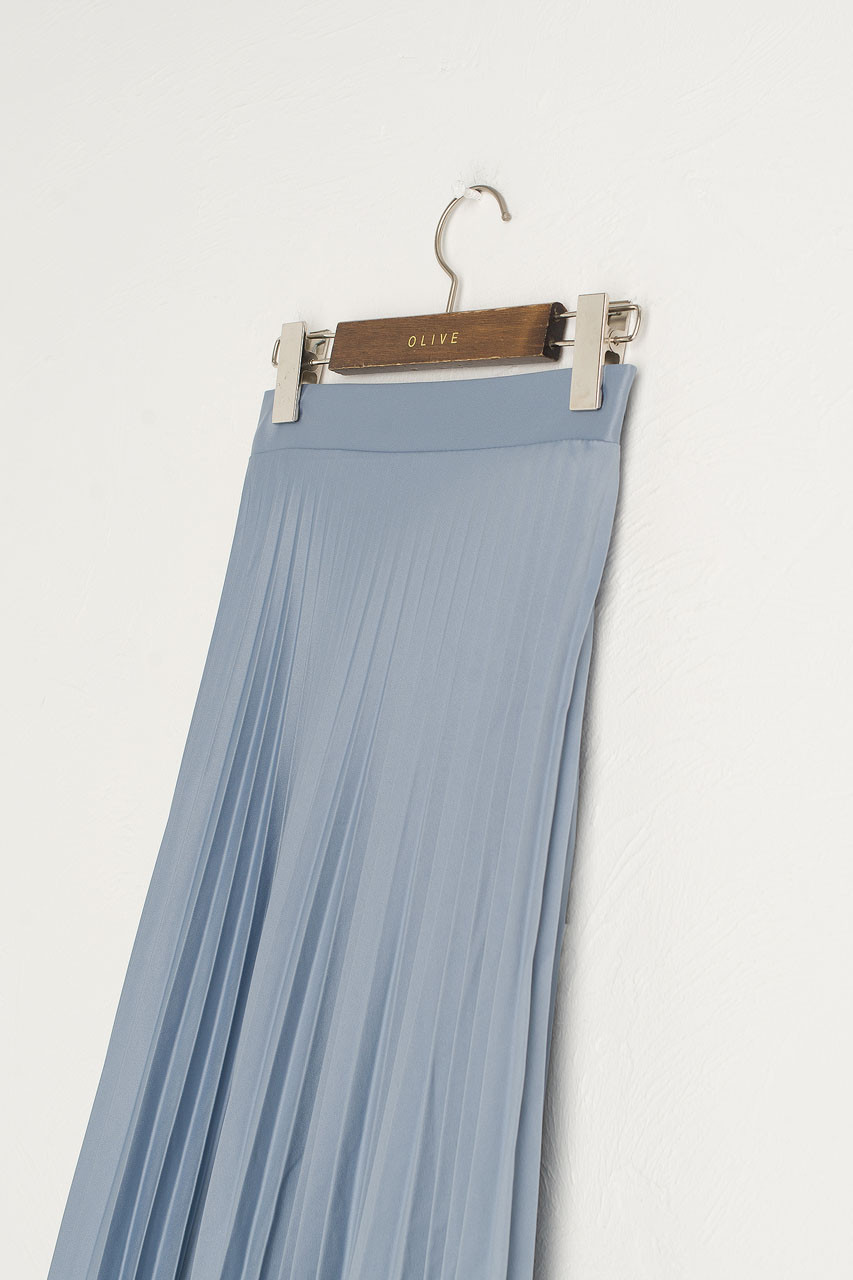 Satin Pleated Long Skirt, Blue