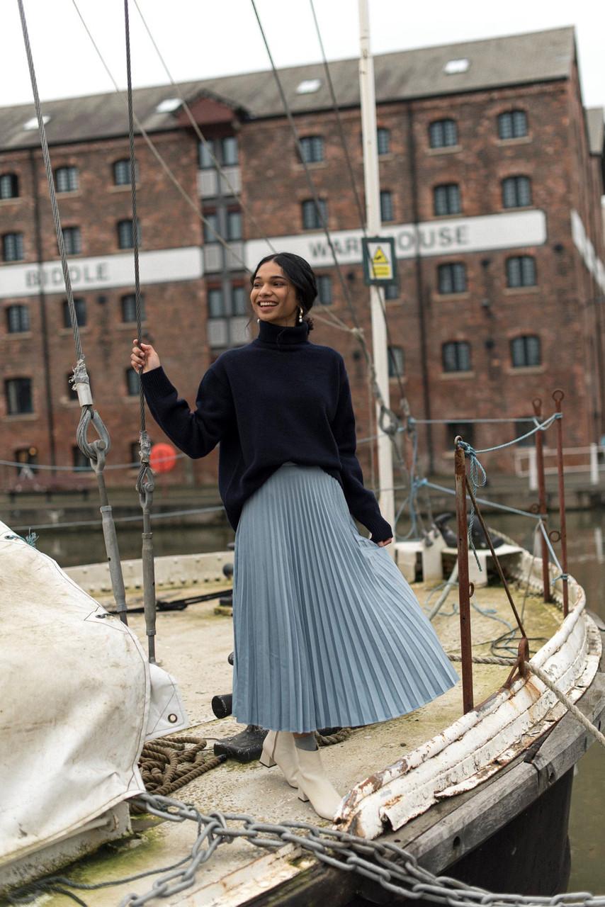 Satin Pleated Long Skirt, Blue