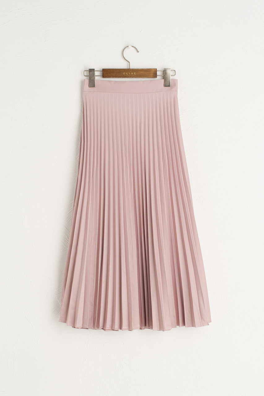 Satin Pleated Long Skirt, Pink