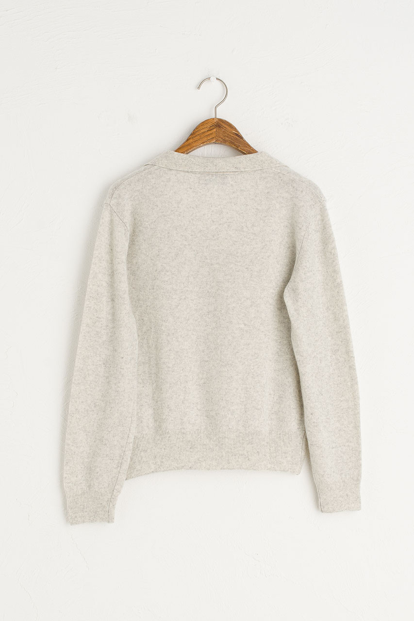 Jane Cashmere Blend Cardigan, Melange Grey