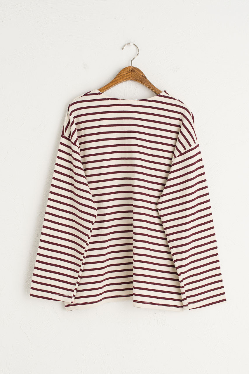 Sophie Stripe Tee, Wine