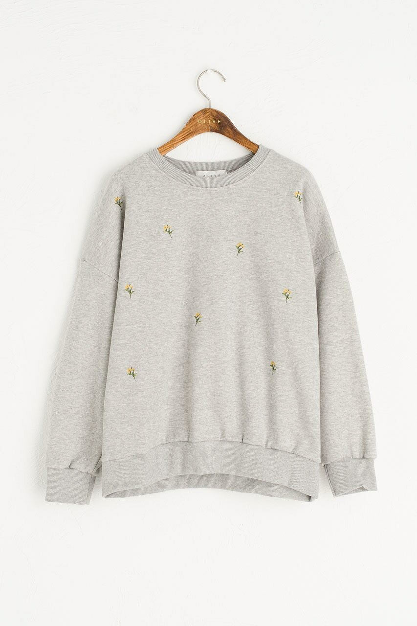 Lily Stitch Sweatshirt, Grey
