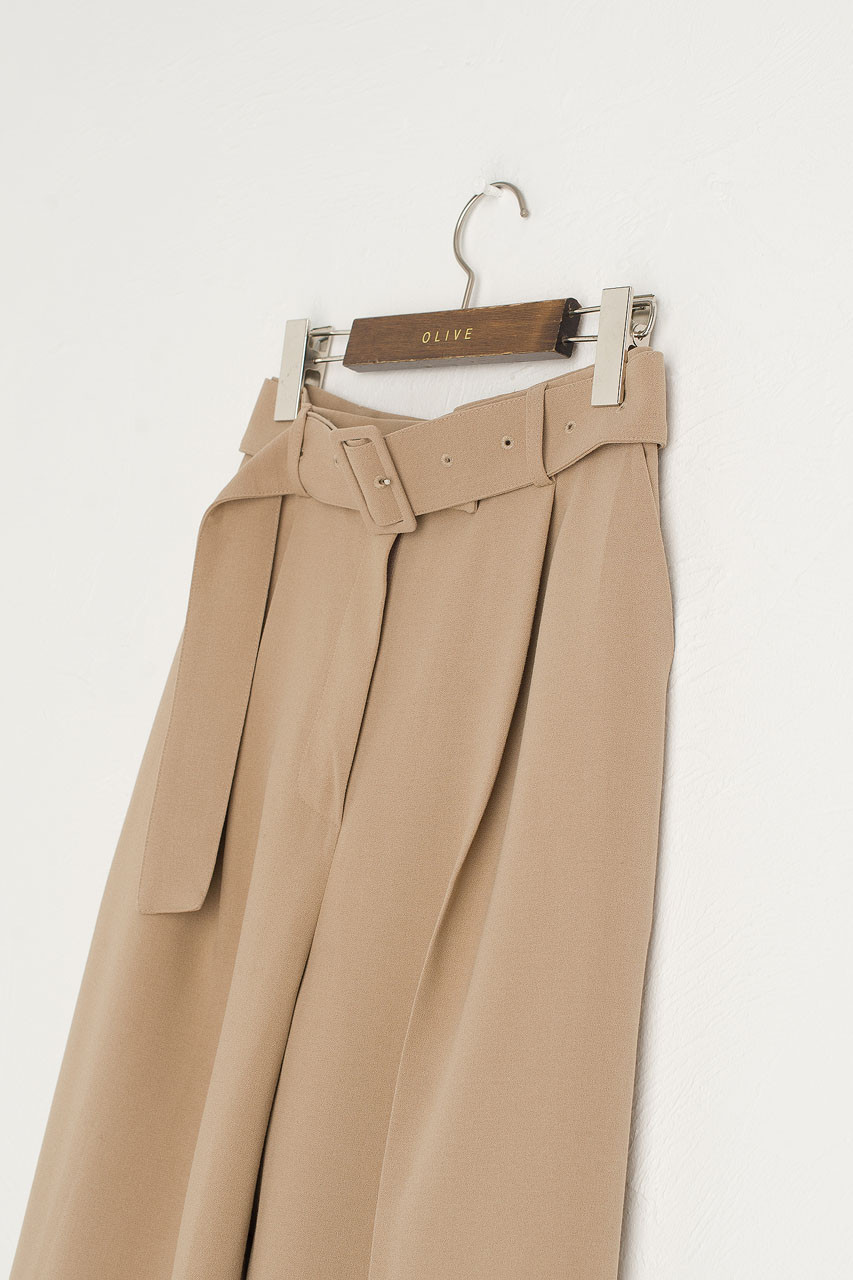 Hana Belted Tailored Pants, Beige